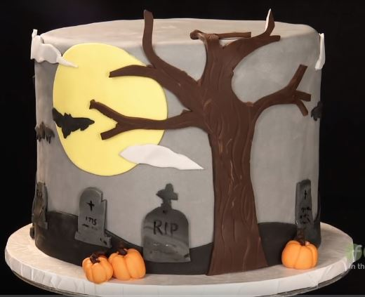 Having A Whale Of A Time Decorating A Halloween Cake With Fondant