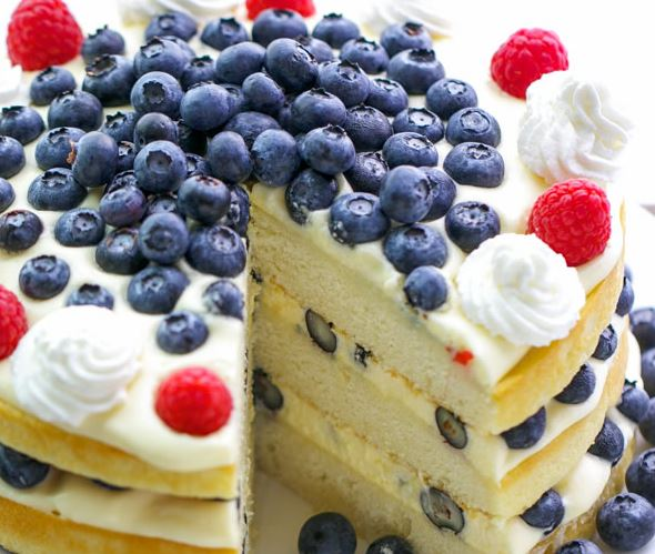 Delicious Moist Yellow Cake With Blueberries And Bavarian Cream Recipe