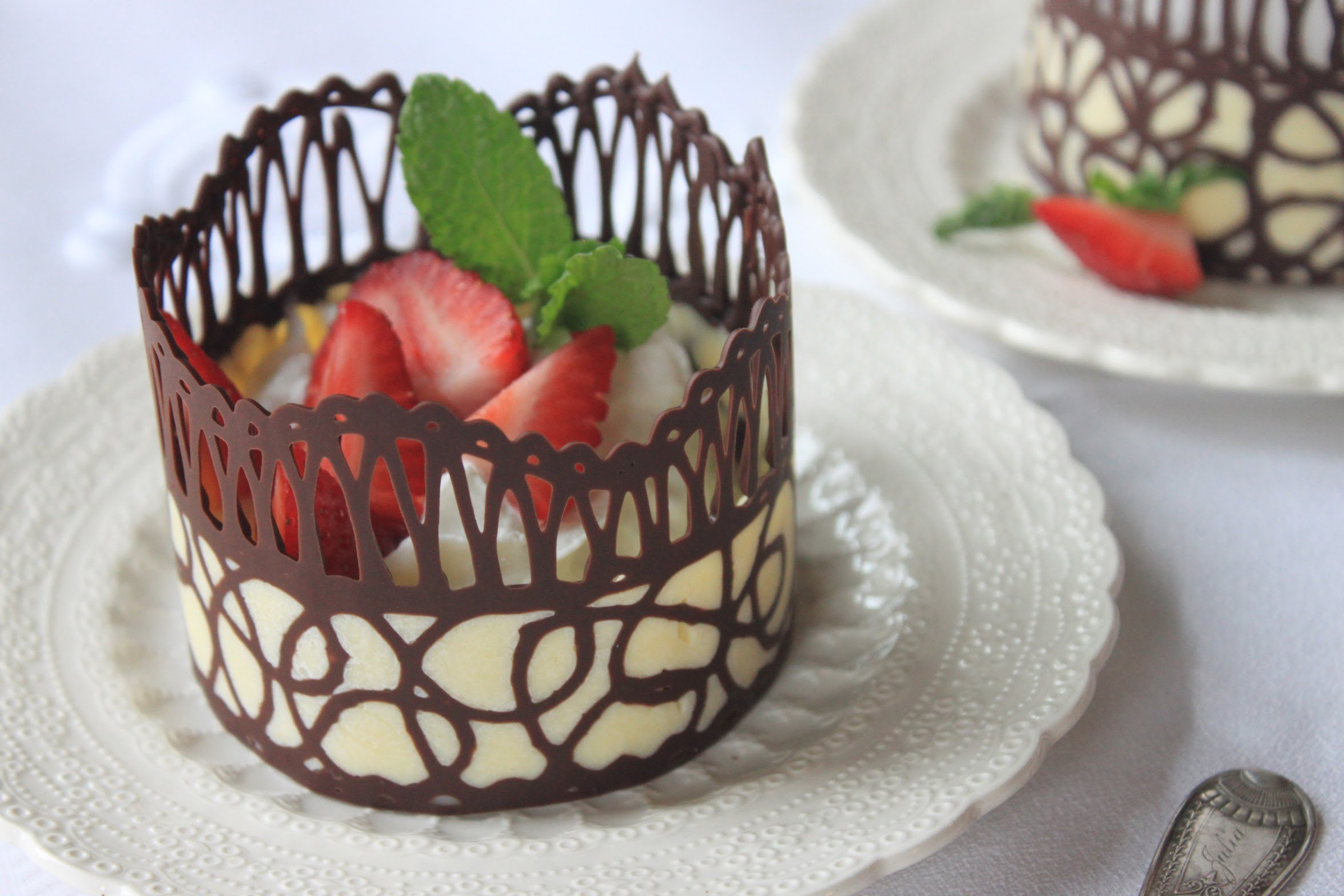 Fabulous chocolate lace desert cups desserts corner for Chocolate lace template